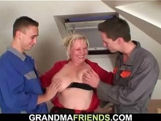 Yoke repairmen louse up well-endowed aged granny