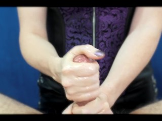 Point of view female dominance hand-job with smacking, taunting, and Taunting