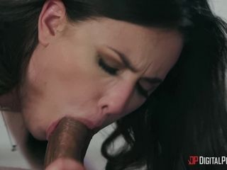 Dark haired MILF Casey gets dicked through her crotchless tights