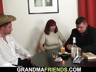 Sandy-haired senior mature double-fucked after card game