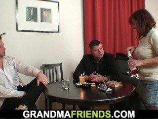 Aged trio orgy meet approval league together poker