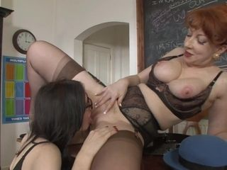 Lesbo mature professor manhandles college girl