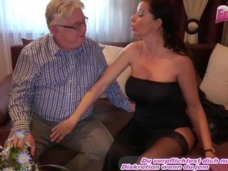 german big breasts cougar seduced old guy - Mom