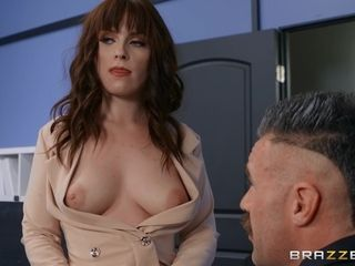Kiara Edwards's nice natural boobs drive him mad in the office!
