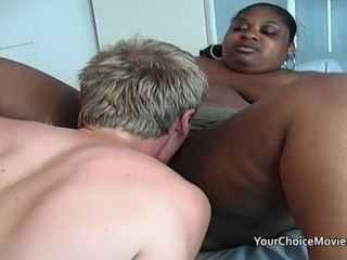 Impatient youthful dude uses an elderly ebony plus-size