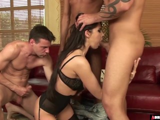 Brutalclips - scorching whore Eva Karera gang-fucked By trio folks