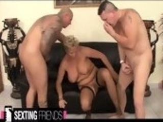 Ginormous bumpers platinum-blonde mother gets nailed by 2 massive pricks