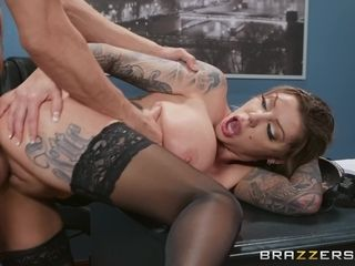 Tattooed super-hot cougar Karma RX getting pulverized rock hard on the table