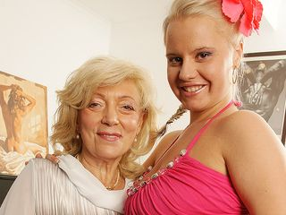 2 mischievous older and youthfull lesbians get their vulvas humid