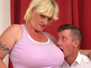 XXL titted mature dame throating a rock firm man-meat