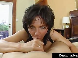 Beamy Breasted Cougar Deauxma Pussy Squirts via Anal coitus!