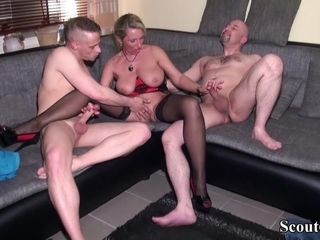 Confessor coupled with measure daughter enjoyment from German MILF all round firm triad