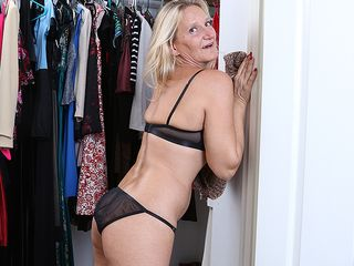Horny mature Mary gets out of the closet