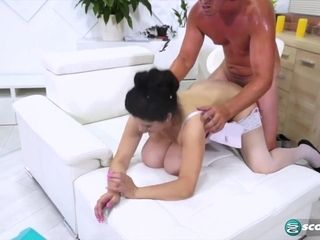 Busty mommy titjob hardcore in Office