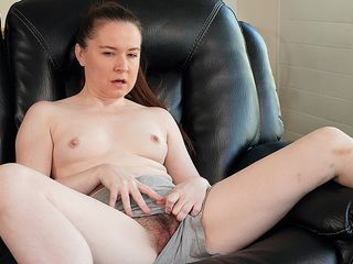 This unshaved mother loves to have joy with her vag and get humid in her garden