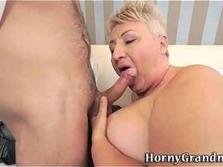 Obese grandmother sucks