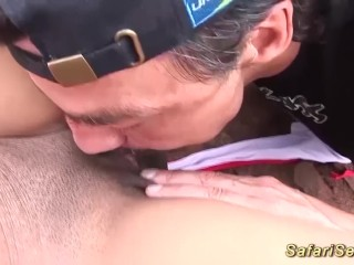 Bony african milf open-air fucked