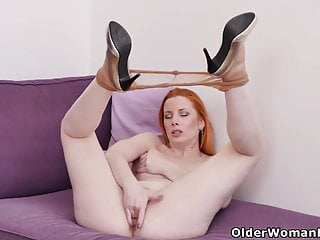 Laconic titted redhead milf Michelle fingers say no to pussy