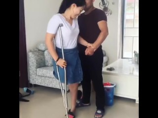 Spectacular RAK Amputee wifey attempts High high-heeled slippers
