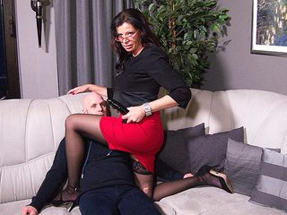 German mature domina plowing a stud up the culo with a belt wood