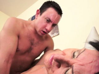 Saggytits granny rides hard younger dick