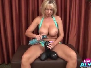 Fuck-fest-hungry Alysha takes enormous fuck-fest fucktoys into her muff