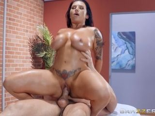 Big ass MILF gives a masseur's big cock a wild ride during massage