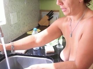 In the kitchen with my playthings - GILF solo vid