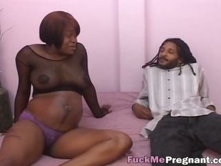 Slutty preggo ebony whore rides massive black dick like never before