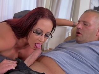 Huge-titted cougar fellates pulsing dinky