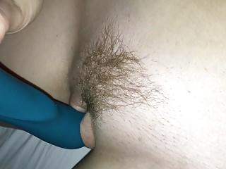 Wife masturbates trimmed bush pussy with vibrator