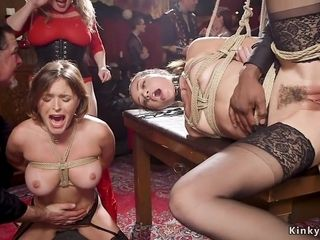 Interracial group fucking domination in bondage
