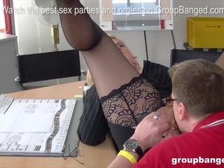 Mischievous pierced gash cougar loves a hard-core group sex