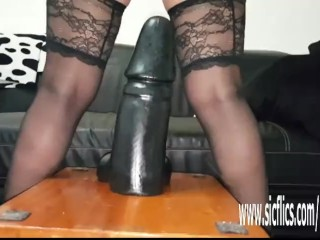 Sarah plumbs gargantuan fuck sticks in her thirsty puss