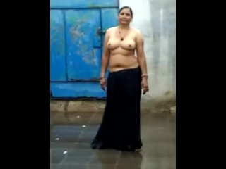 Indian wifey naked dance in rain
