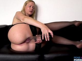 German horny mother plays with yam-sized bang-out playthings
