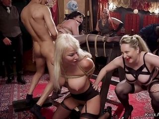 Big bumpers Housewife slave munched and bootie orgy shagged
