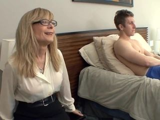 Meaty burst milf Nina Hartley lures in stocking and a garter